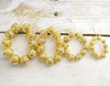 8mm Topaz Gold Filigree Spacer Beads with Rhinestones - Pack of 100 Pieces