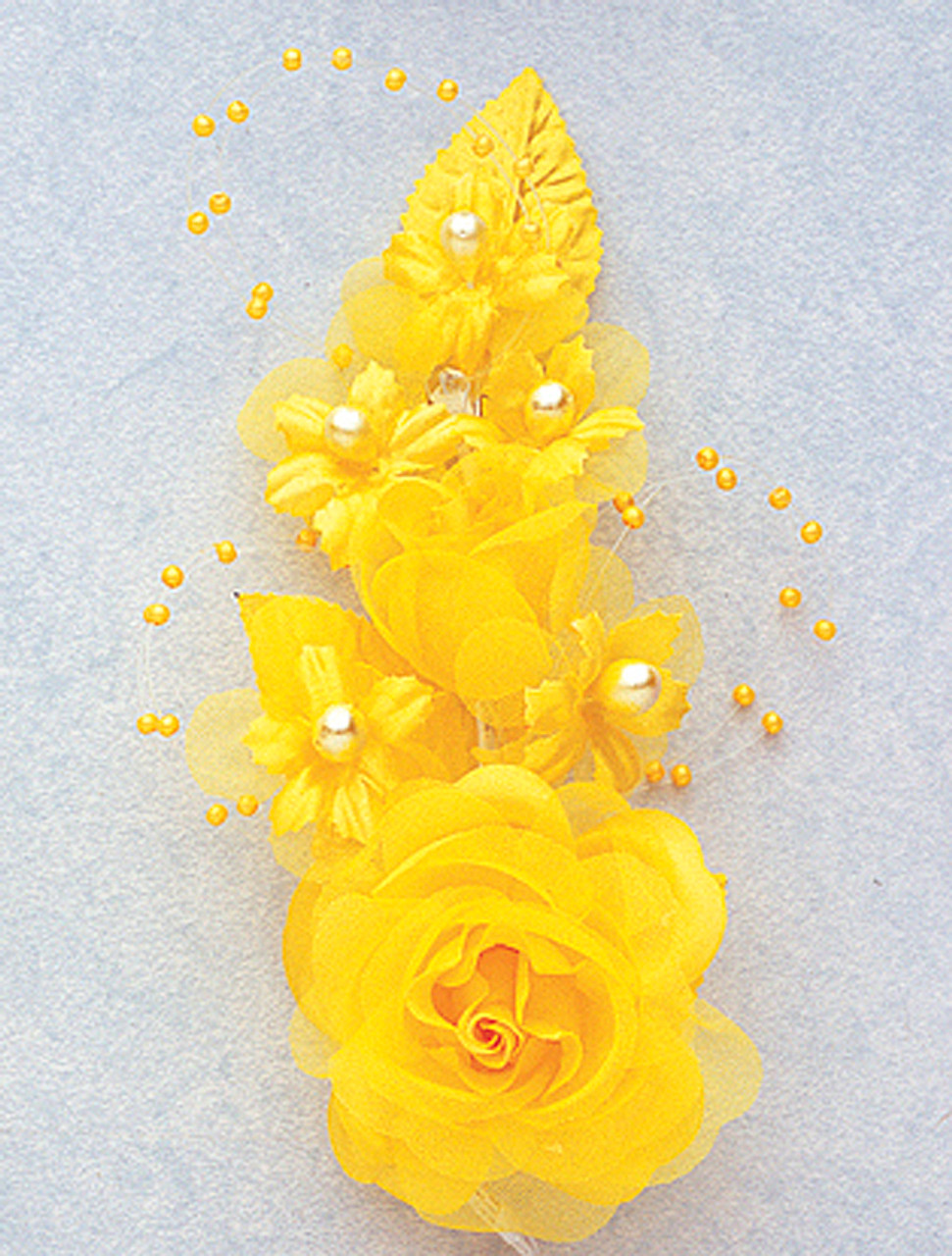 6 dark yellow silk corsage flowers with pearl spray for Cb flowers and crafts