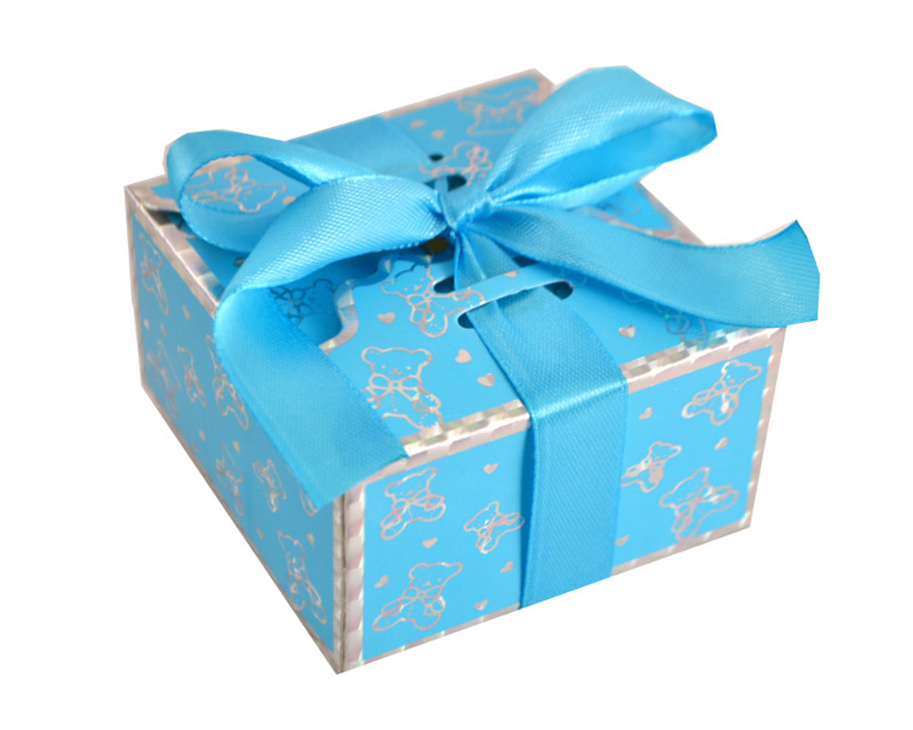 Favour Boxes Baby Blue : Blue baby shower favor box with satin ribbon pack of