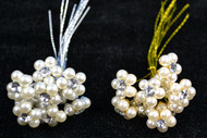 "5/8"" Rhinestone and Pearl Stem Bouquet Jewelry - Pack of 100 Rhinestone Pearl Flowers"