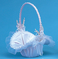 White with White Wedding Satin Flower Girl Basket