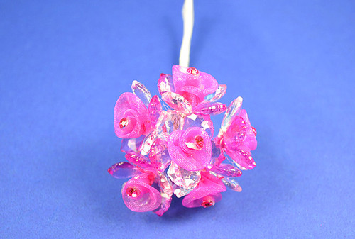 "1.5"" Fuchsia Organza Flowers with Acrylic Leaves and Rhinestone - Pack of 36 Pieces"