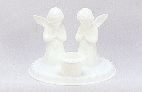 "4.5"" White Angel Baptism Candle Holder"
