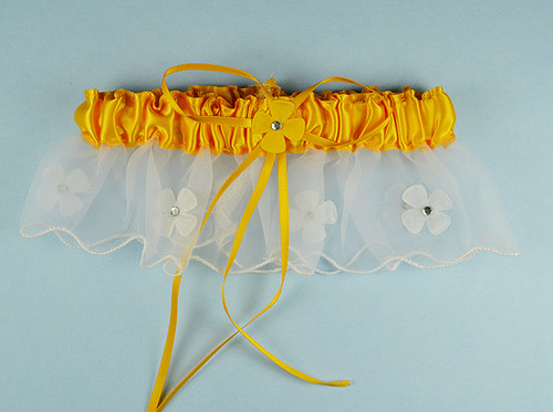 Gold Yellow Bridal Wedding Satin Garter with Floral Organza Trim - Pack of 12 Pieces