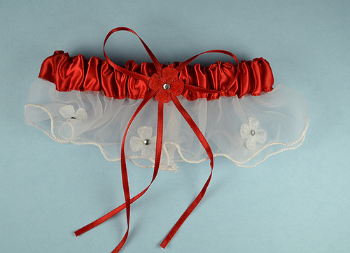 Red Bridal Wedding Satin Garter with Floral Organza Trim - Pack of 12 Pieces