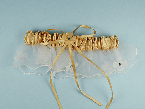 Tan Bridal Wedding Satin Garter with Floral Organza Trim - Pack of 12 Pieces