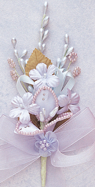 "7"" Light Blue Silk Corsage Flowers with Rhinestone Leaf - Pack of 12"