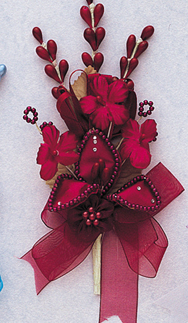 "7"" Burgundy Silk Corsage Flowers with Rhinestone Leaf - Pack of 12"