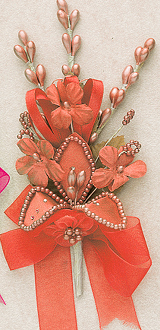 "7"" Coral Silk Corsage Flowers with Rhinestone Leaf - Pack of 12"