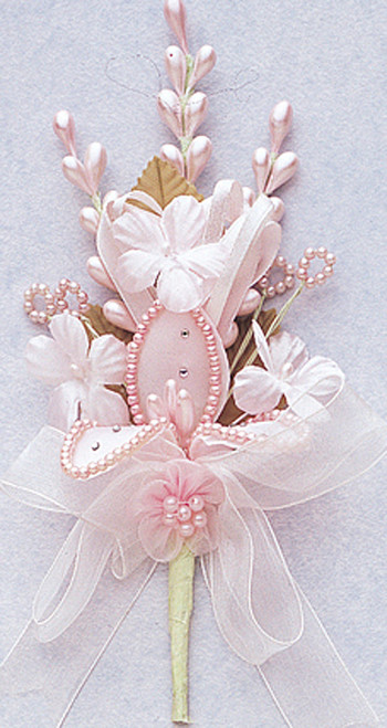 "7"" Pink Silk Corsage Flowers with Rhinestone Leaf - Pack of 12"