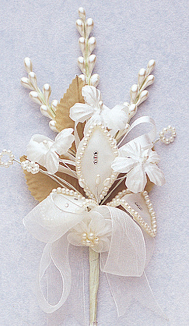 "7"" Ivory Silk Corsage Flowers with Rhinestone Leaf - Pack of 12"