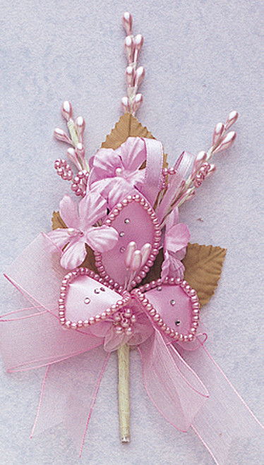 "7"" Lavender Silk Corsage Flowers with Rhinestone Leaf - Pack of 12"
