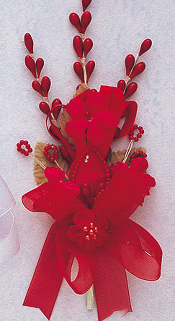 "7"" Red Silk Corsage Flowers with Rhinestone Leaf - Pack of 12"