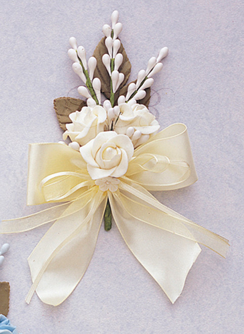"6"" Ivory Silk Clay Corsage Flowers - Pack of 6"