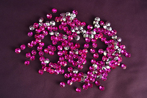 14mm Fuchsia Crystal Octagon Prism Beads - Pack of 200