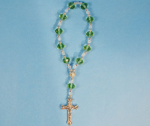 """6.5"""" Apple Green Crystal Rosary Bracelet - Pack of 12 Pieces"""