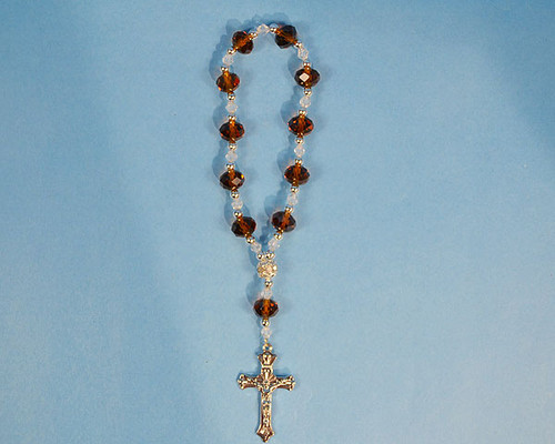 """6.5"""" Brown Crystal Rosary Bracelet - Pack of 12 Pieces"""
