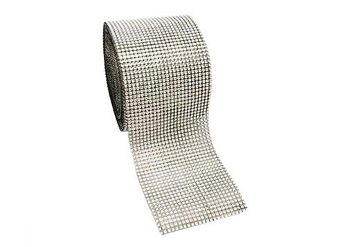 "4.5"" x 10 yards 24 Rows Silver Diamond Mesh Wrap"