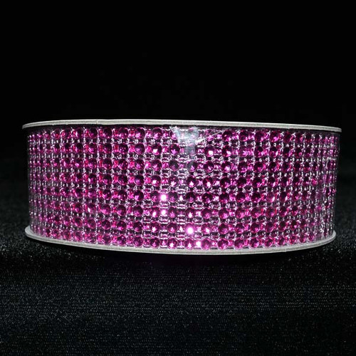 "1.5"" x 10 Yards Fuchsia Diamond Mesh Ribbon - 5 Rolls of Rhinestone Bling Ribbon"