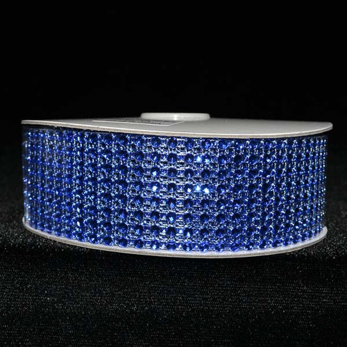 "1.5"" x 10 Yards Royal Blue Diamond Mesh Ribbon - 5 Rolls of Rhinestone Bling Ribbon"