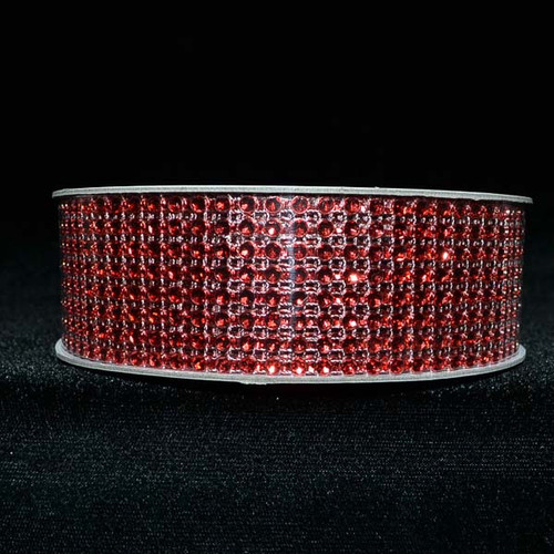 "1.5"" x 10 Yards Red Diamond Mesh Ribbon - 5 Rolls of Rhinestone Bling Ribbon"