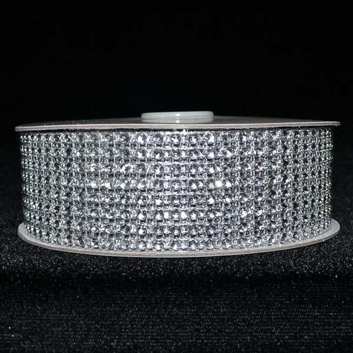 "1.5"" x 10 Yards Silver Diamond Mesh Ribbon - 5 Rolls of Rhinestone Bling Ribbon"
