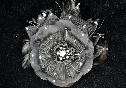 "6"" Black Large Silk and Satin Single Flower with Pearl and Rhinestone - Pack of 6"