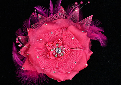 "6"" Fuchsia Large Silk and Satin Single Flower with Pearl and Rhinestone - Pack of 6"