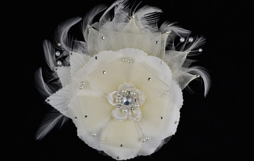 "6"" Ivory Large Silk and Satin Single Flower with Pearl and Rhinestone - Pack of 6"