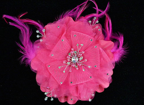 "6"" Fuchsia Large Silk Single Flower with Pearl and Rhinestone - Pack of 6"