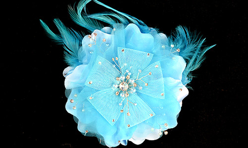 "6"" Turquoise Large Silk Single Flower with Pearl and Rhinestone - Pack of 6"