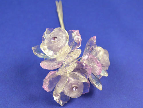 "1.5"" Lavender Organza Flowers with Acrylic Leaves and Rhinestone - Pack of 36 Pieces"