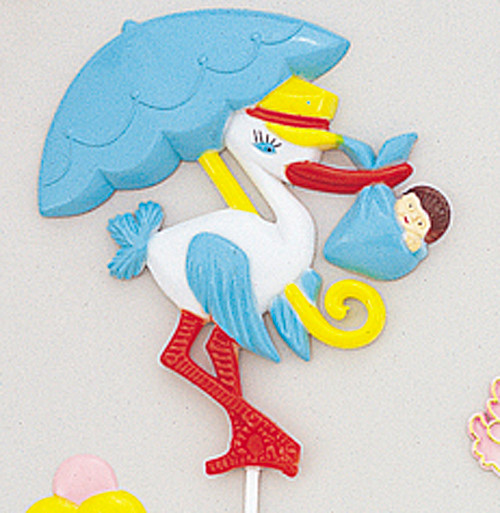 """3.5"""" Blue Baby Shower Stork Picks - Baby Shower Decoration - Pack of 12 Pieces"""