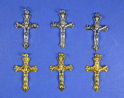 "1.5"" Catholic Metal Cross Pendants - Pack of 100 Pieces"