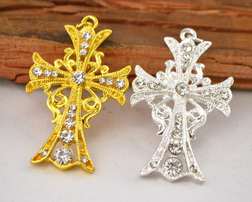 "2"" Metal Cross Pendants with Rhinestones - Pack of 10 Pieces"