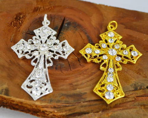 "2.5"" Metal Cross Pendants with Rhinestones - Pack of 10 Pieces"