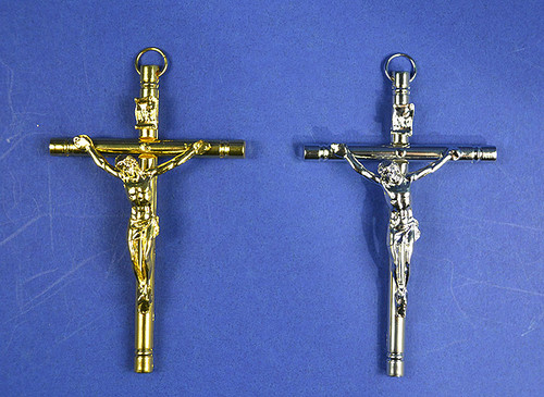 "4"" Catholic Metal Cross Pendants - Pack of 10 Pieces"