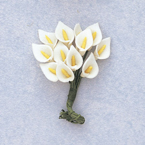 "3/4"" Tall White Clay Calla Lily Flowers"