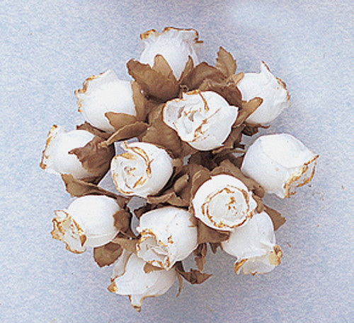 White Dry Polyester Rose with Gold Trim - Pack of 144