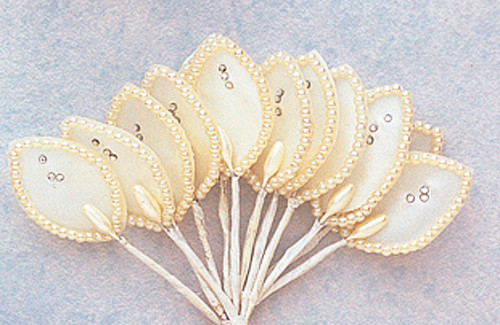 "1.5"" Ivory Flower Leaf with Pearl and Rhinestone - Pack of 144"
