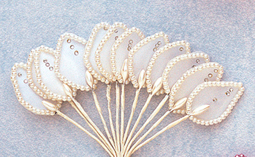 """1.5"""" White Flower Leaf with Pearl and Rhinestone - Pack of 144"""