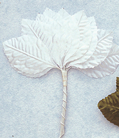 "1 3/4"" White Flower Leaf - Pack of 6 Gross"