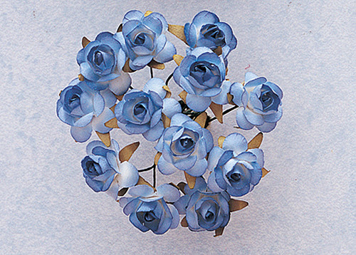 "3/4"" Blue Medium Rose Craft Paper Flowers - Pack of 144"