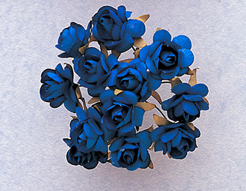 "3/4"" Royal Blue Medium Rose Craft Paper Flowers - Pack of 144"