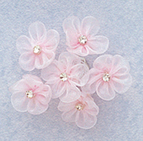 1 pink organza flowers with rhinestone pack of 72 cb for Cb flowers and crafts