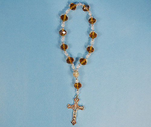 """6.5"""" Amber Crystal Rosary Bracelet - Pack of 12 Pieces"""