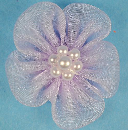 """1 3/4"""" Lavender Organza Flowers with Pearl - Pack of 144 Pieces"""