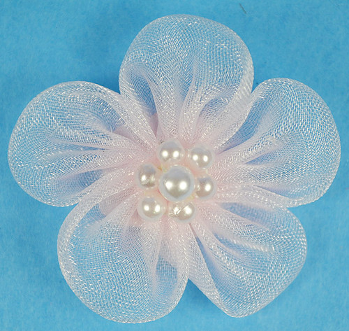 """1 3/4"""" Pink Organza Flowers with Pearl - Pack of 144 Pieces"""