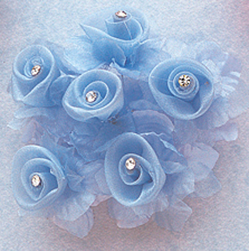 """1 3/4"""" Light Blue Organza Flowers with Rhinestone - Pack of 72"""