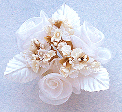 "1.5"" White Organza Pearl Flowers with Leaf - Pack of 12"